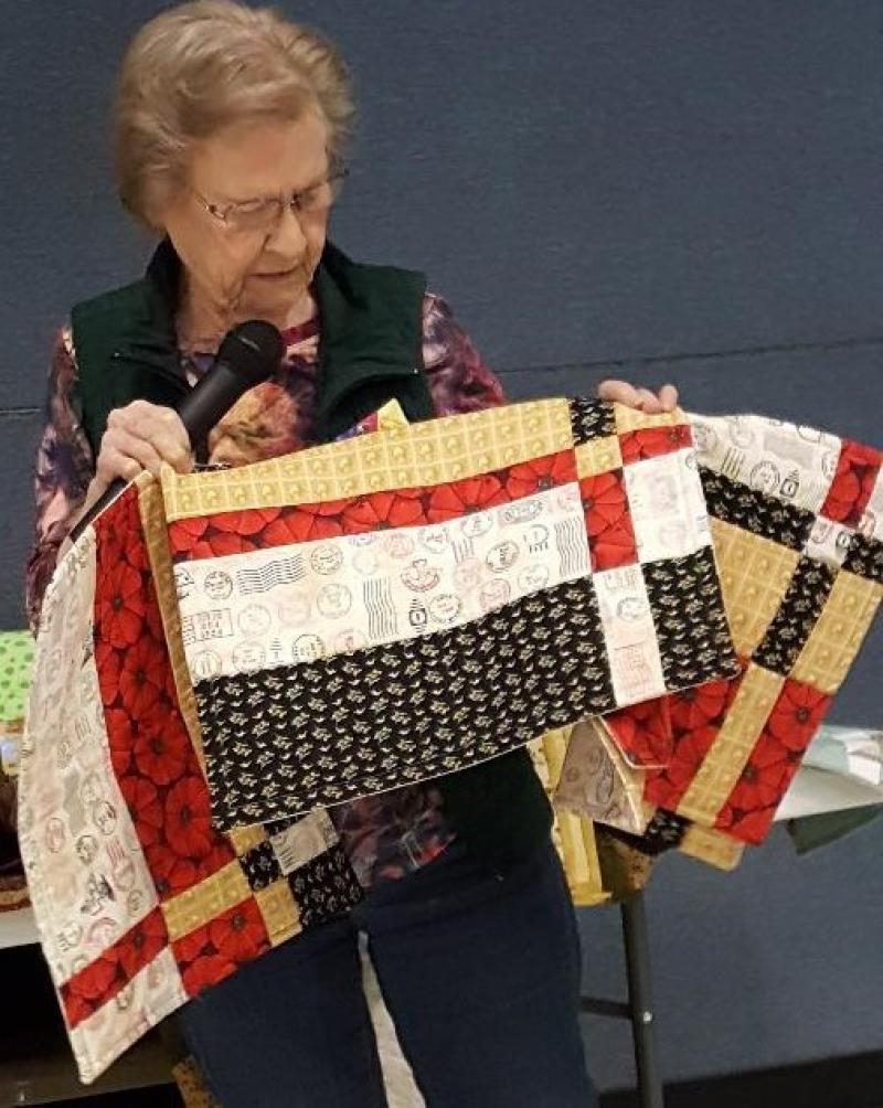 Wanda made placemats from the Nebraska fabric